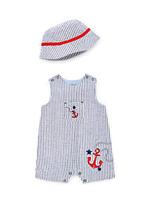 daf21e64f4f ... Little Me Baby Boys Anchor Sunsuit and Hat