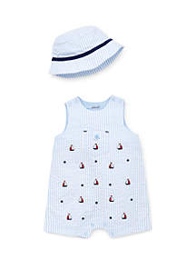 Little Me Baby Boys Sailing Sunsuit and Hat