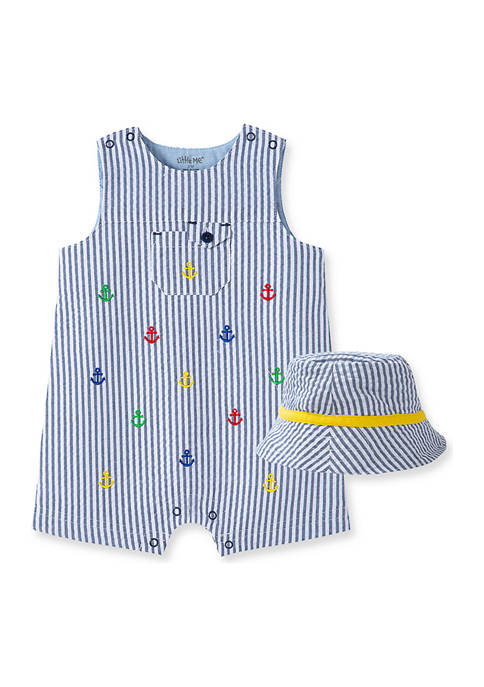Little Me Baby Boys Anchor Sunsuit and Hat