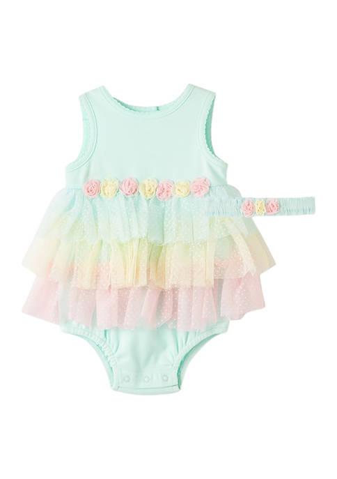 Little Me Baby Girls Aqua Tier Popover