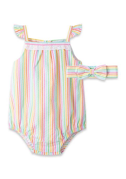 Baby Girls Multi Stripe Bubble Romper