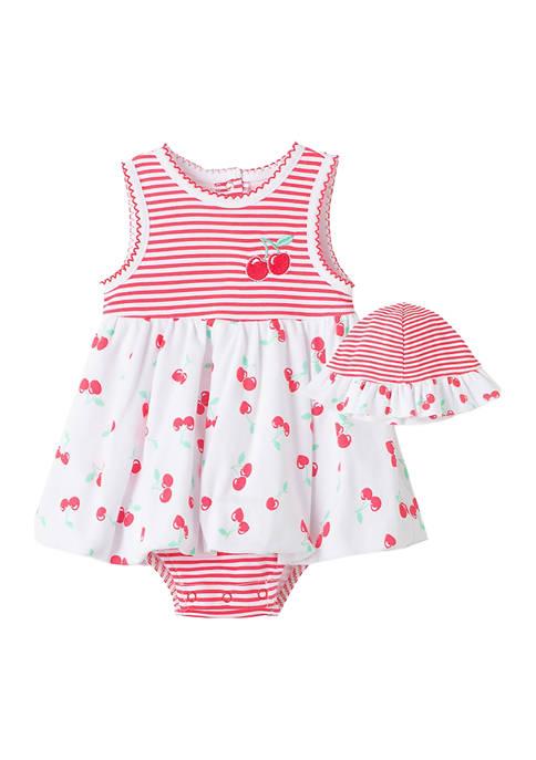 Little Me Baby Girls Cherry Popover Dress Set