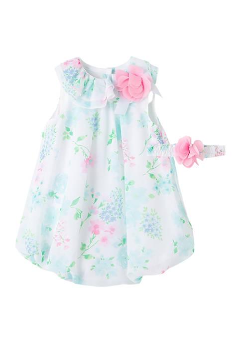 Little Me Baby Girls Aqua Floral Bubble