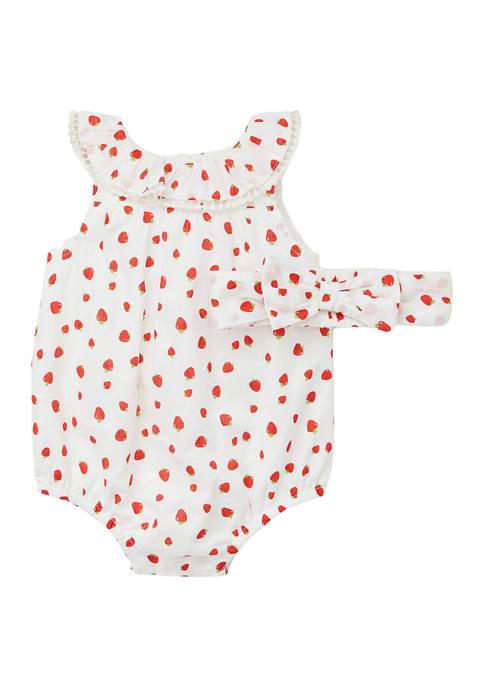 Little Me Baby Girls Strawberry Bubble Romper