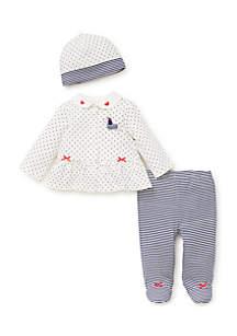 Baby Girls Puppy Dot Cardigan Set