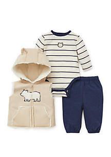 Baby Boys Stripe Bear 3-Piece Vest Set