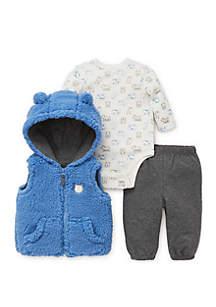 Baby Boys Bears 3-Piece Vest Set