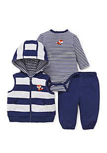 Baby Boys Fox 3-Piece Vest Set