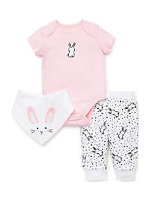 Little Me Baby Girls Bunny 3 Piece Pant Set