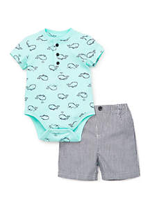 Little Me Baby Boys Whale Short Set