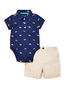 Little Me Baby Boys Puppy Icon Short Set