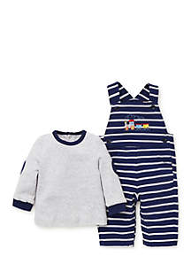 Baby Boys Train Knit Overall Set