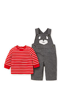 Baby Boys Puppy Face Knit Overall Set