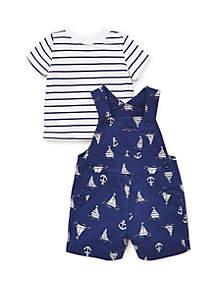 Little Me Baby Boys Nautical Shortall Set
