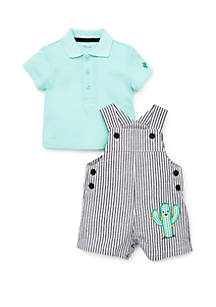 Little Me Baby Boys Cactus Shortall Set