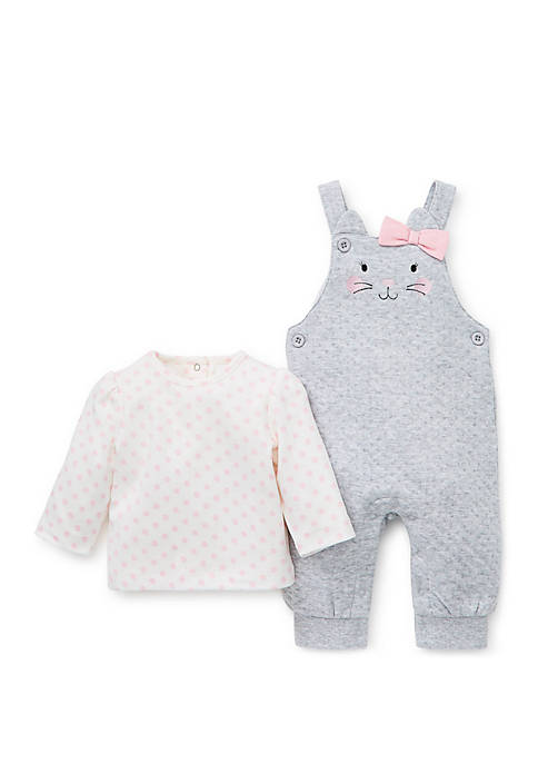 Little Me Baby Girls Kitten Overall and Printed
