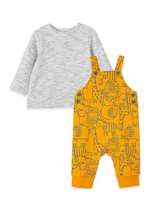 Little Me Baby Boys Safari Overalls Set