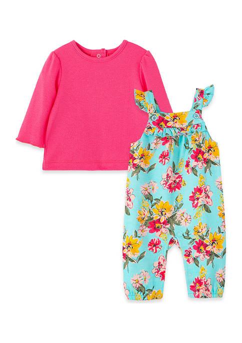 Little Me Baby Girls Floral Overalls Set
