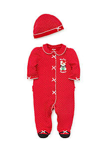 Baby Girls Holiday Bear Footie and Hat