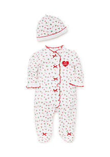 Baby Girls Candy Cane Footie