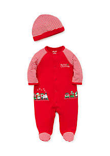 Infant Boys Train Gift Footie And Hat