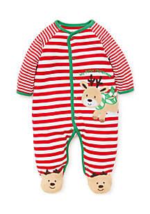 Infant Boys Reindeer Stripe Footie
