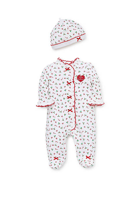 Little Me Baby Girls Candy Cane Footie Hat