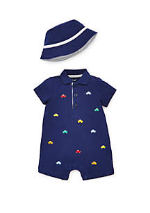 Little Me Baby Boys Car Romper & Hat