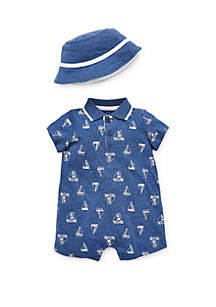 Little Me Baby Boys Sailboat Romper & Hat