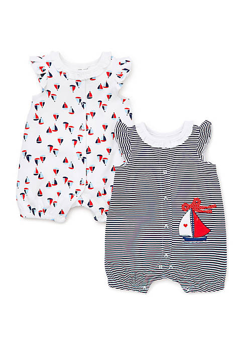 Little Me Baby Girls Sailboat Rompers- Set of
