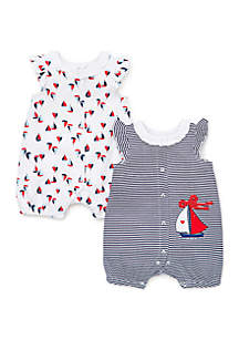 678a66316 ... Little Me Baby Girls Sailboat Rompers- Set of 2
