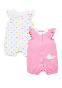 afb569b6f29a ... Little Me Baby Girls Whale 2 Piece Rompers