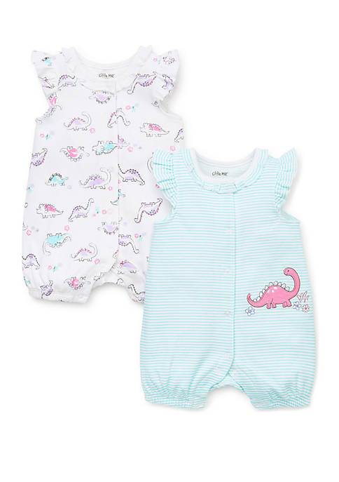 Little Me Baby Girls Dinos 2 Piece Rompers