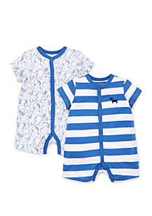 Little Me Baby Boys Puppies 2 Pack Rompers