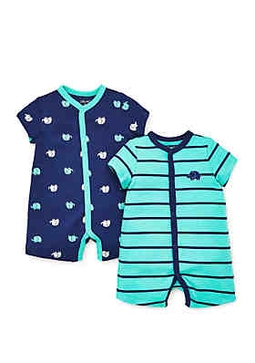 87bce298bf4 Little Me Baby Boys Elephant 2 Pack Rompers ...