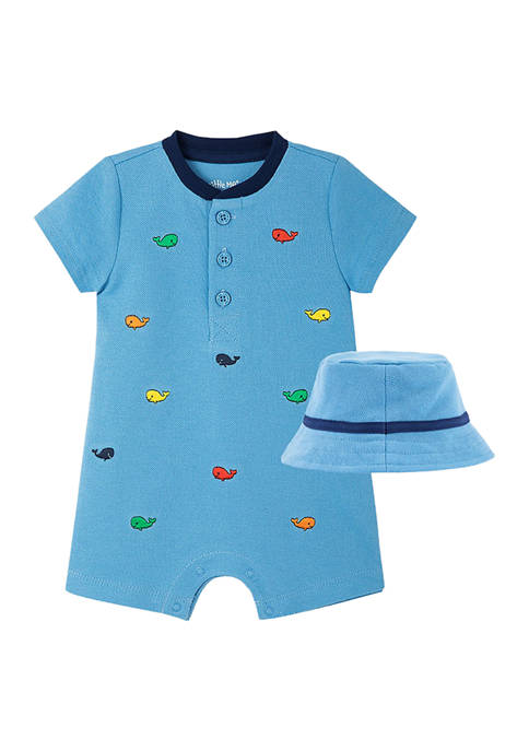 Little Me Baby Boys Whale Romper and Hat