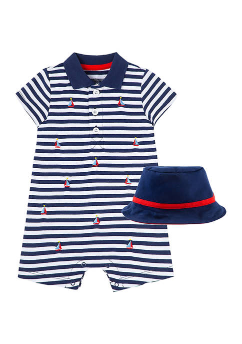 Little Me Baby Boys Sailboat Romper and Hat