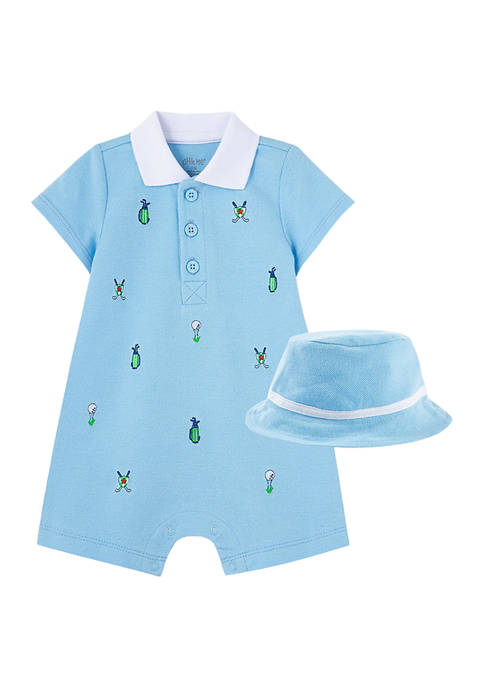 Little Me Baby Boys Golf Romper and Hat