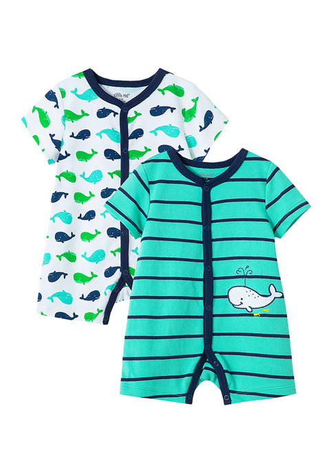 Little Me Baby Boys 2-Pack Whale Rompers