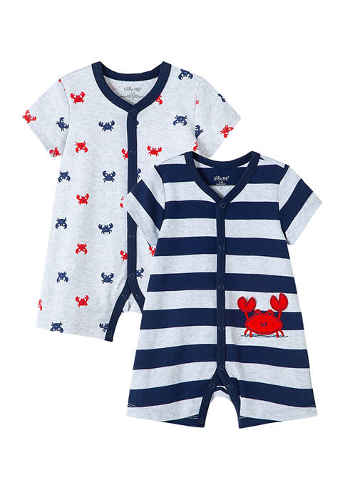 Little Me Baby Boys 2-Pack Crab Rompers