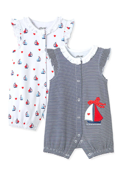 Little Me Baby Girls Sailboat 2-Pack Rompers
