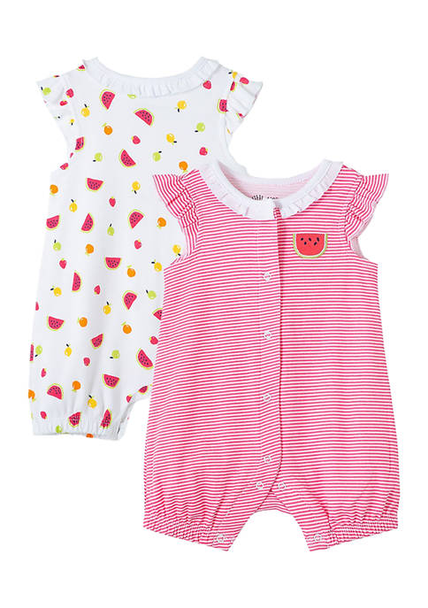 Little Me Baby Girls Fruit 2-Pack Rompers