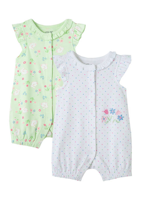 Little Me Baby Girls Bunny Flower 2-Pack Rompers