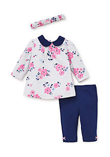 Baby Girls Floral Tunic Set with Heaband