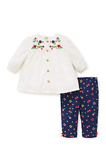 Infant Girls 2-Piece Floral Charm Set