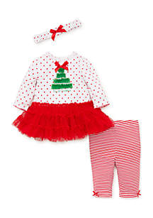 baby girls pretty tree dress legging set