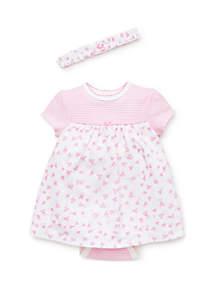 Little Me Baby Girls Hearts Bodysuit Dress