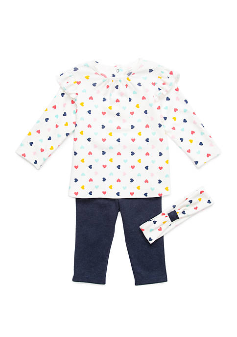Little Me Baby Girls 3 Piece Hearts Tunic
