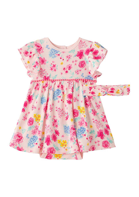 Little Me Baby Girls Floral Bodysuit Dress