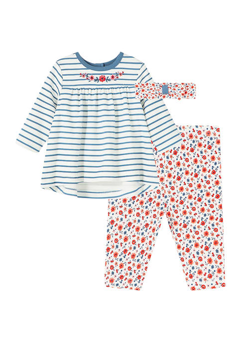 Little Me Baby Girls Floral Stripe Tunic Set